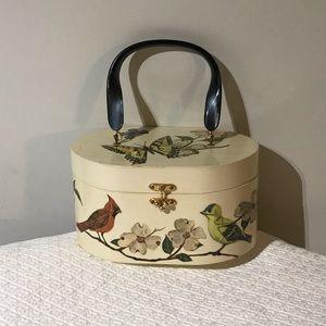 Vintage Handmade Decoupage Wooden Box Purse Bag